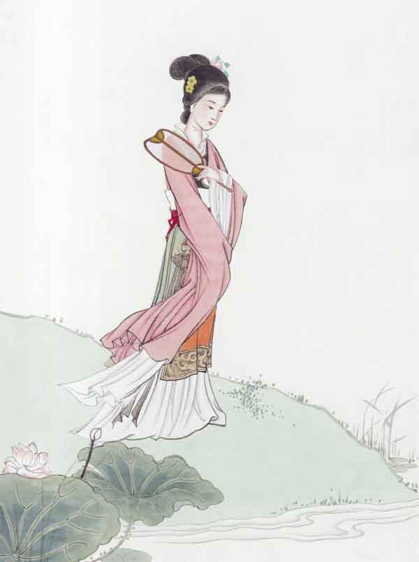 китайская поэзия, китаянка, акварель китаянка