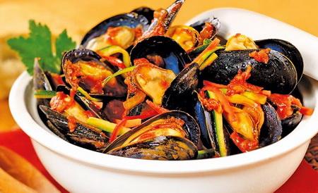 Рецепт мидий с овощами