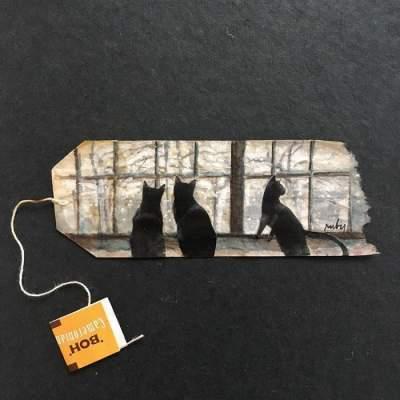 Художница создает удивительные картины на обычных чайных пакетиках