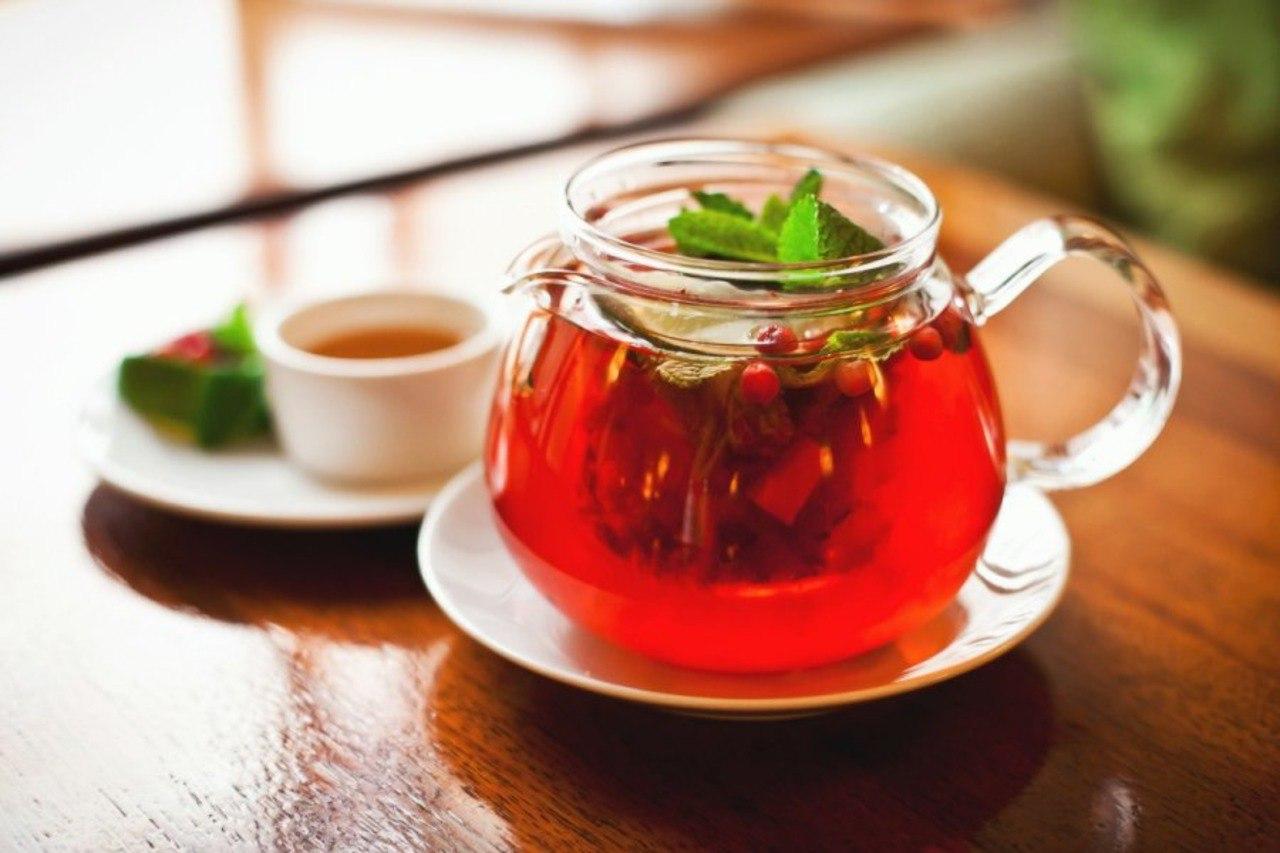 Чай с клюквой и мятой